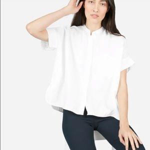 Everlane White Linen Collarless Square Shirt 2